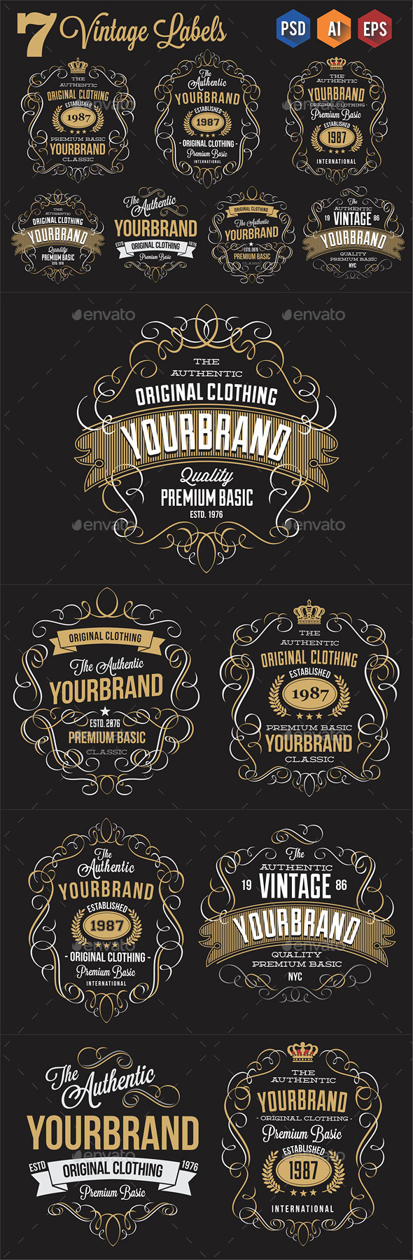GraphicRiver 7 Vintage Labels 11411880