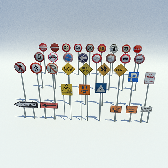 3DOcean Low Poly Road Sign Pack 11411987