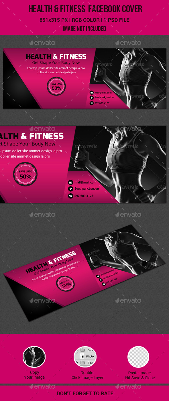 GraphicRiver Health & Fitness Facebook Cover 11412021