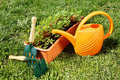 Watering can with gardening tools on green grass - PhotoDune Item for Sale