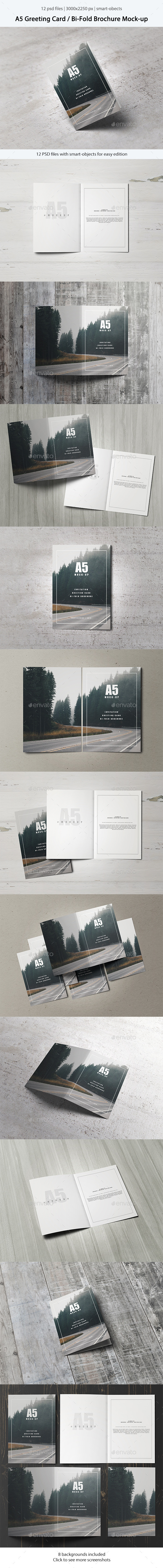 GraphicRiver A5 Greeting Card Bi-Fold Brochure Mock-Up 11412525