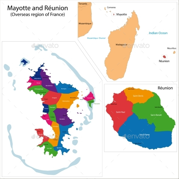 GraphicRiver Reunion And Mayotte Map 11413588