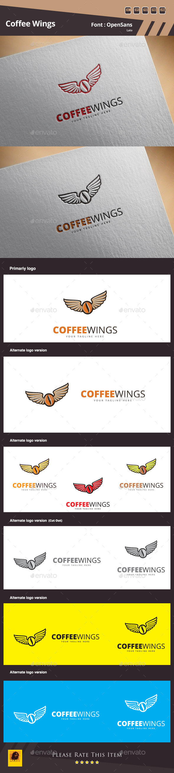 GraphicRiver Coffee Wings Logo Template 11414002