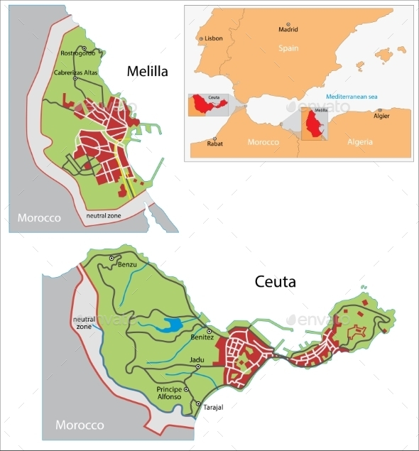 GraphicRiver Ceuta And Melilla Map 11414013