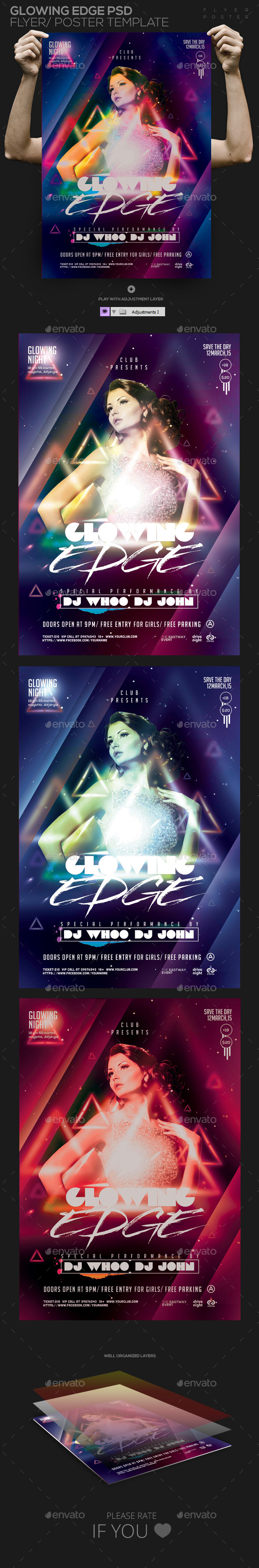 GraphicRiver Glowing Edge PSD Flyer Poster Template 11414170
