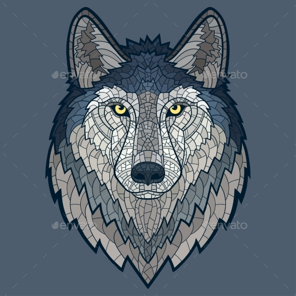 GraphicRiver Wolf Head Mascot Mosaic Isolated 11414198