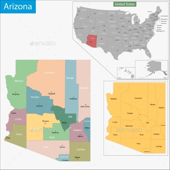 GraphicRiver Arizona Map 11414730