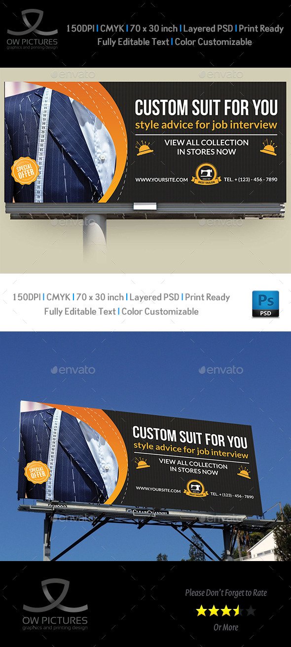 GraphicRiver Tailor Fashion Billboard Template 11414938