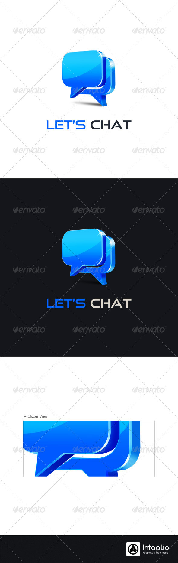 Social Media Logo - Let's Chat - 3d Abstract