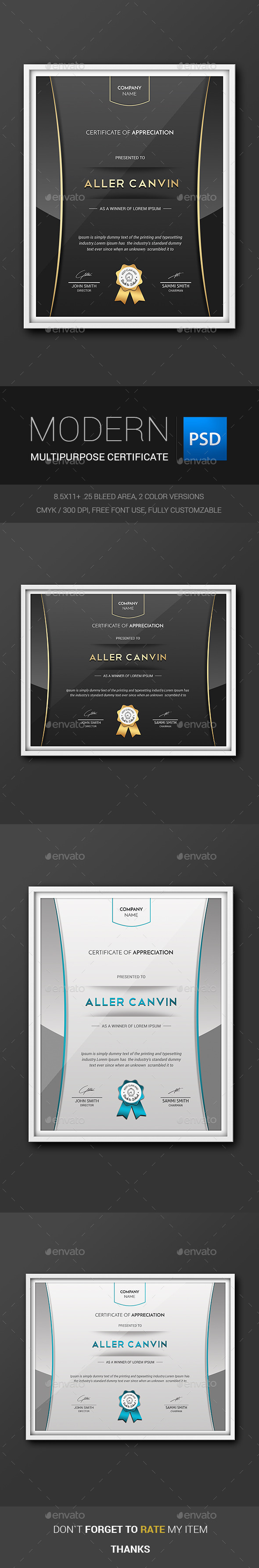 GraphicRiver Modern Multipurpose Certificates 11415124