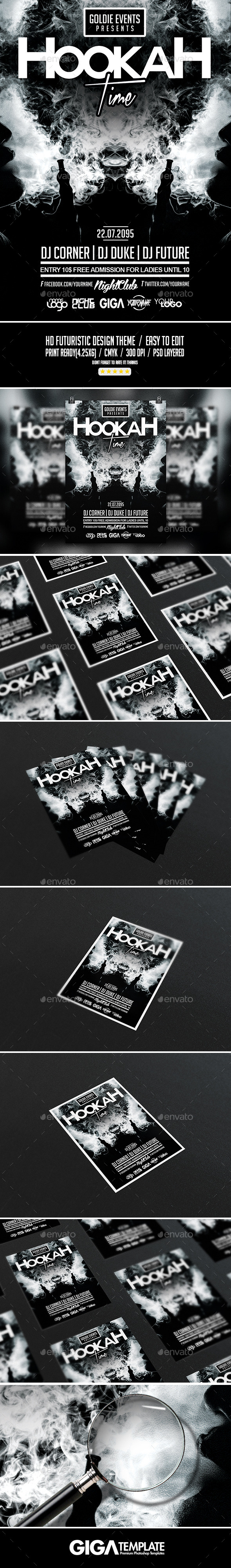 GraphicRiver Hookah Time Futuristic Party PSD Flyer Template 11415194