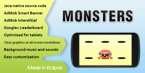 CodeCanyon Monsters Game with AdMob and Leaderboard 11415199