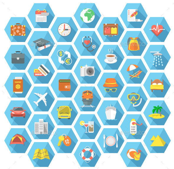 GraphicRiver Traveling and Tourism Flat Hexagonal Icons Set 11415200
