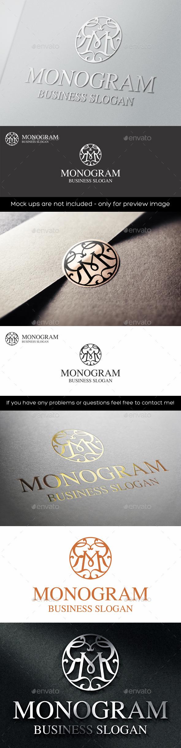 GraphicRiver Vintage Monogram M Logo Letter 11415212