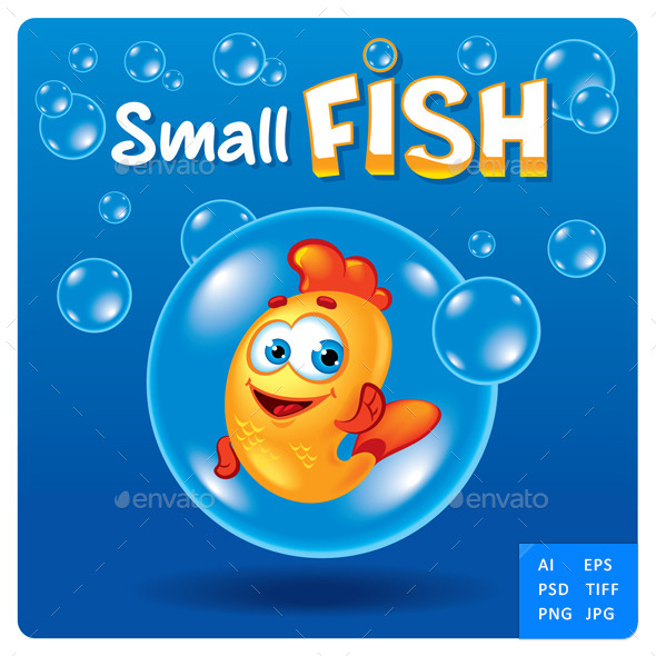 GraphicRiver Small fish Toon Mascot Character 11415776