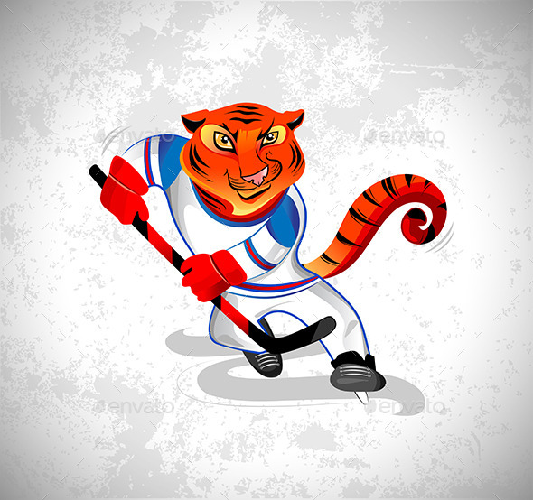 GraphicRiver Tiger Played Hockey 11415825