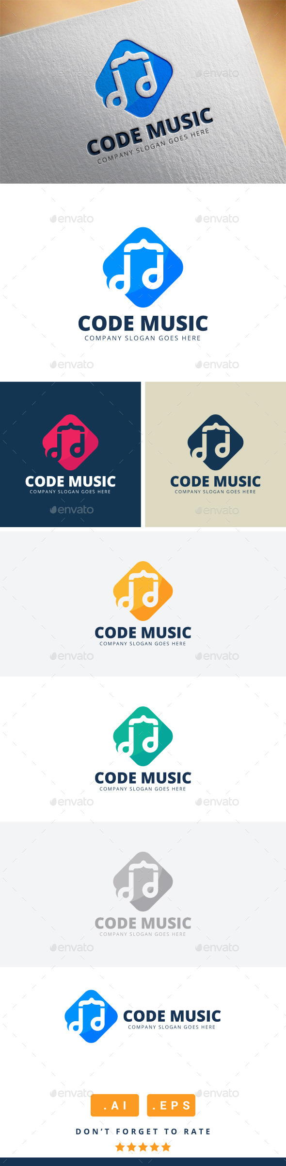 GraphicRiver Code Music Logo 11416466