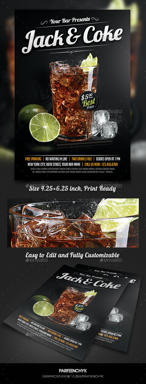 GraphicRiver Whiskey and Coke Cocktail Flyer Template 11416481