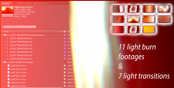 After Effects Project - VideoHive Light transitions & burns AE CS4 & footages 140862