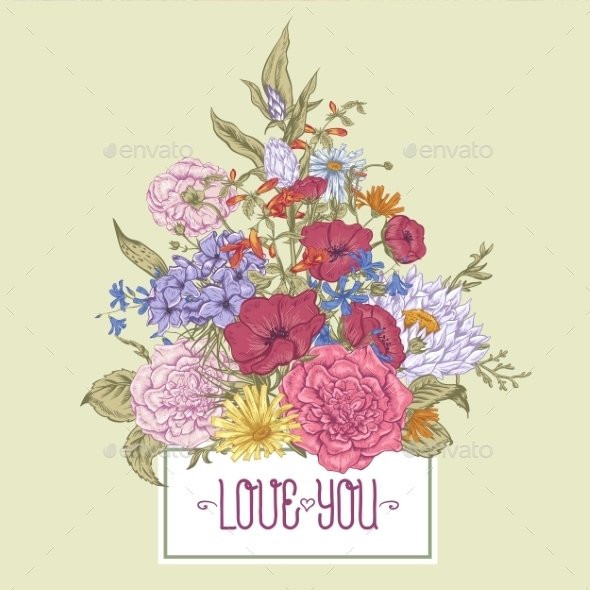 GraphicRiver Gentle Retro Summer Floral Greeting Card Vintage 11417028