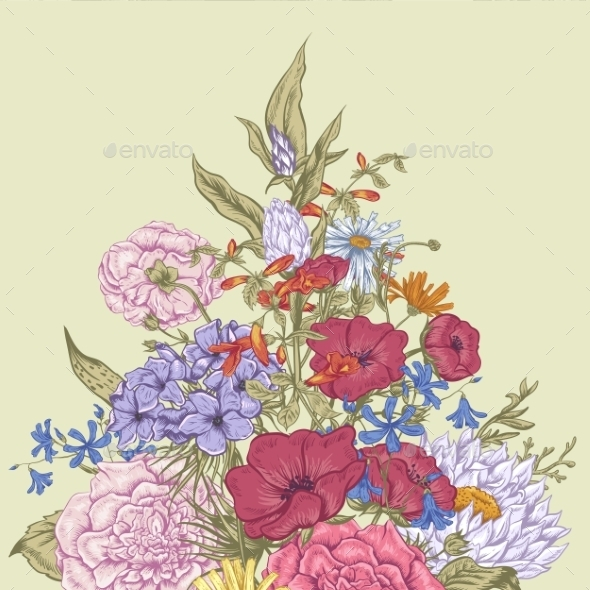 GraphicRiver Gentle Retro Summer Floral Greeting Card Vintage 11417030