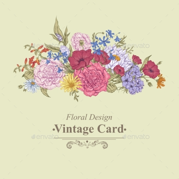 GraphicRiver Gentle Retro Summer Floral Greeting Card Vintage 11417033