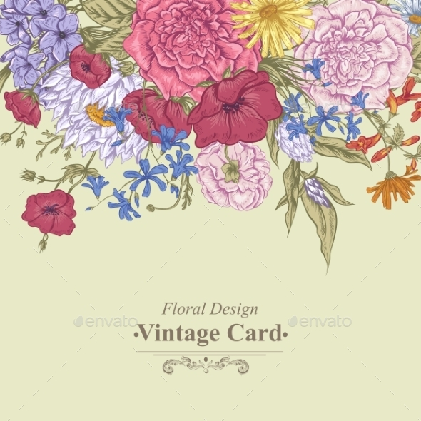 GraphicRiver Retro Summer Floral Greeting Card 11417037