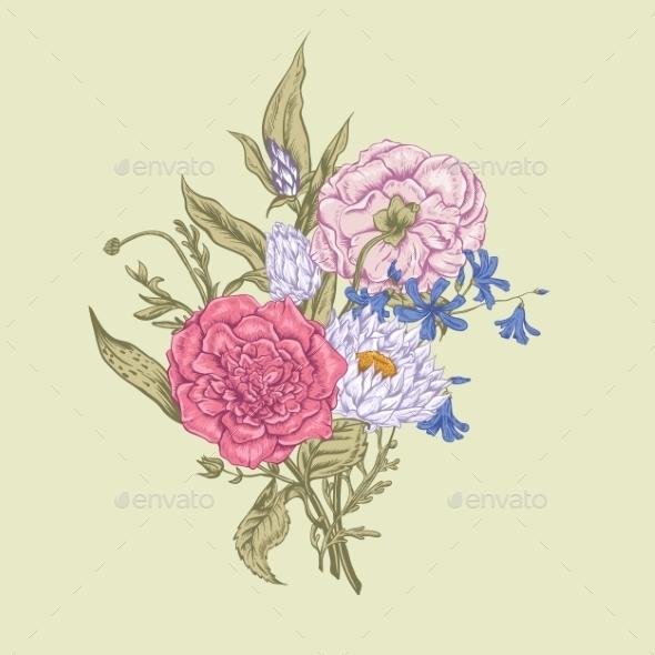 GraphicRiver Gentle Retro Summer Floral Greeting Card Vintage 11417039