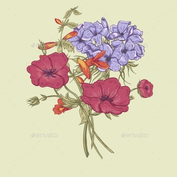 GraphicRiver Gentle Retro Summer Floral Greeting Card Vintage 11417040