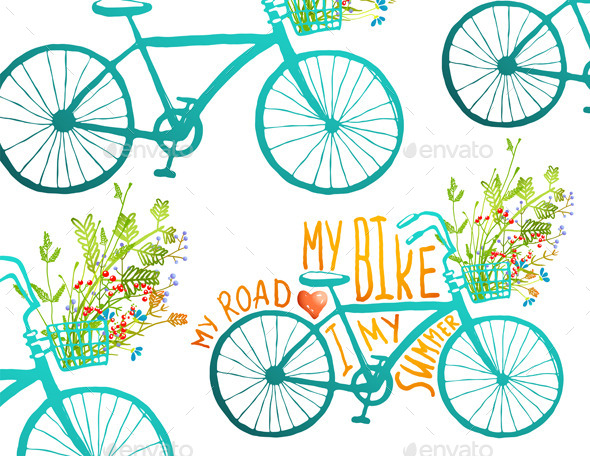 GraphicRiver Vintage Summer Bike Composition with Flowers 11417042