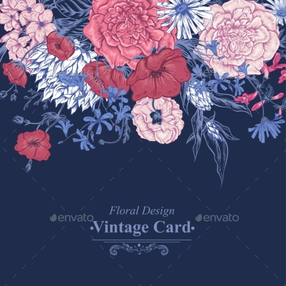 GraphicRiver Gentle Retro Summer Floral Greeting Card Vintage 11417105