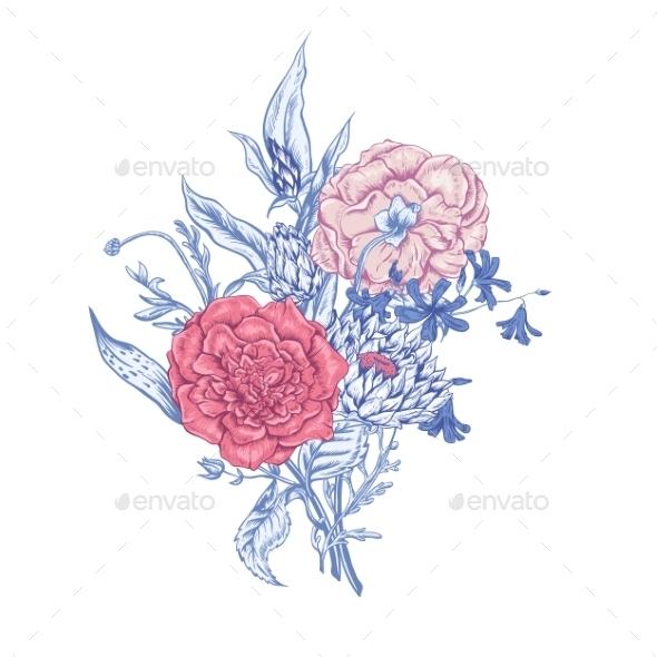 GraphicRiver Gentle Retro Summer Floral Greeting Card Vintage 11417119