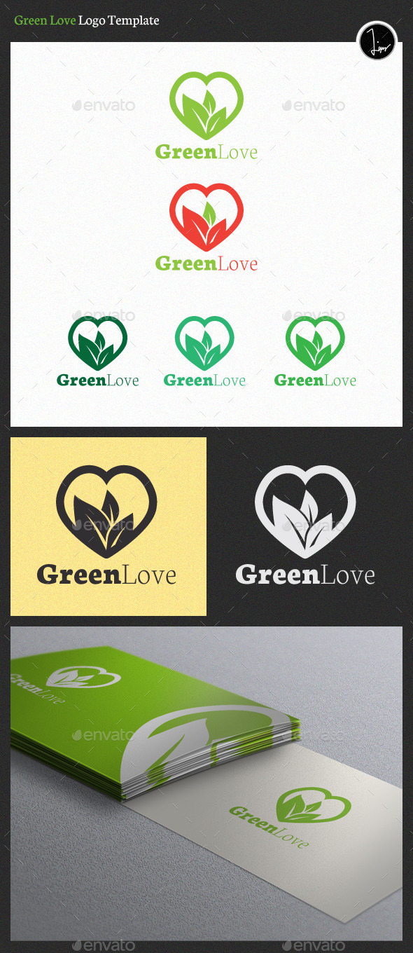 GraphicRiver Green Love Logo 11417332
