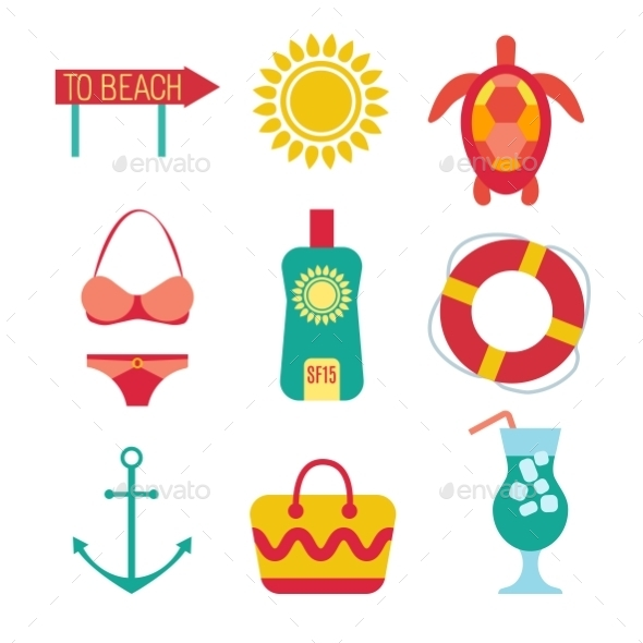 GraphicRiver Icons Of Travel Summer In The Flat Style 11417931