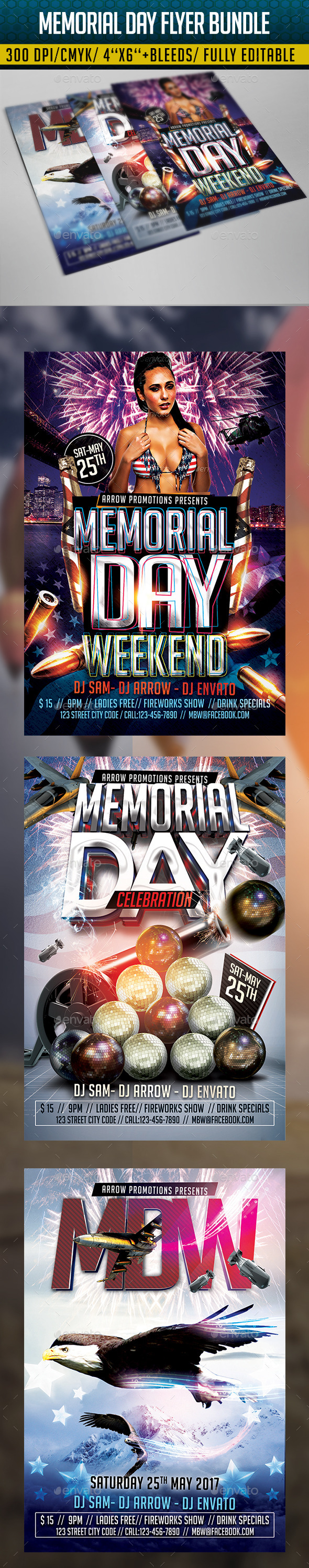GraphicRiver Memorial Day Weekend Flyer Bundle 11340887