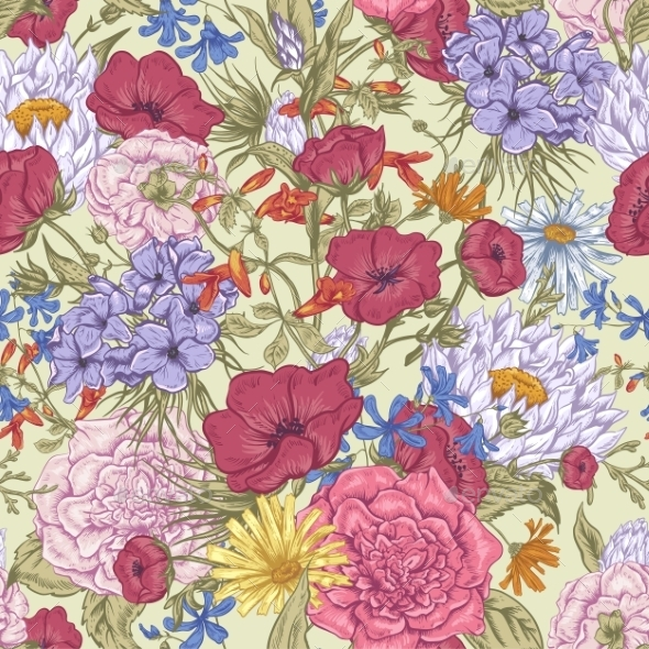 GraphicRiver Retro Summer Seamless Floral Pattern 11418046