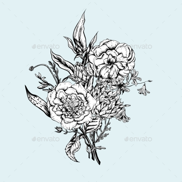 GraphicRiver Monochrome Retro Summer Floral Greeting Card 11418057