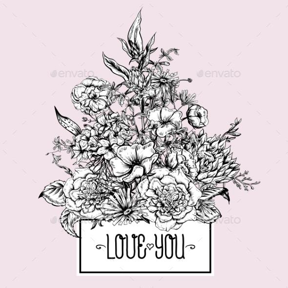 GraphicRiver Monochrome Retro Summer Floral Greeting Card 11418058