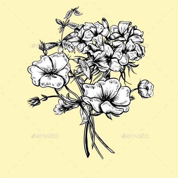 GraphicRiver Monochrome Retro Summer Floral Greeting Card 11418062