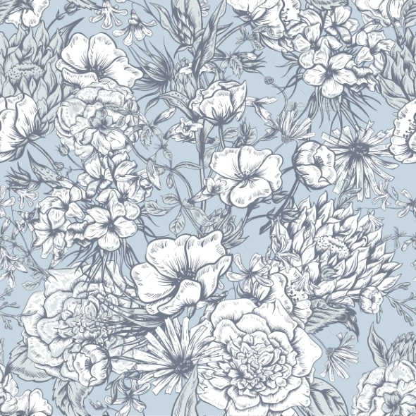GraphicRiver Retro Summer Seamless Monochrome Floral Pattern 11418082