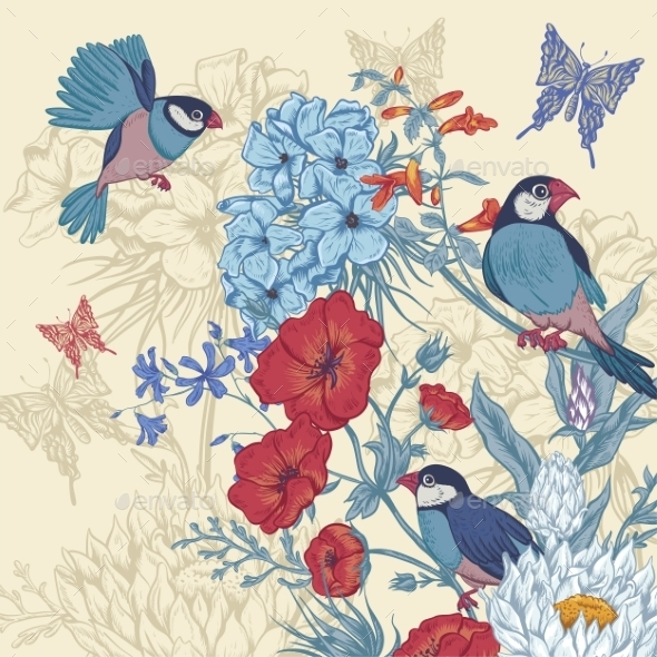 GraphicRiver Vintage Floral Greeting Card with Birds 11418091