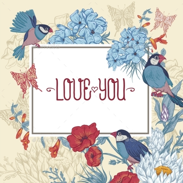 GraphicRiver Vintage Floral Greeting Card with Birds 11418092
