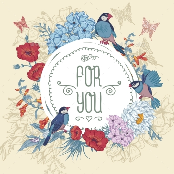 GraphicRiver Vintage Floral Greeting Card with Birds 11418093