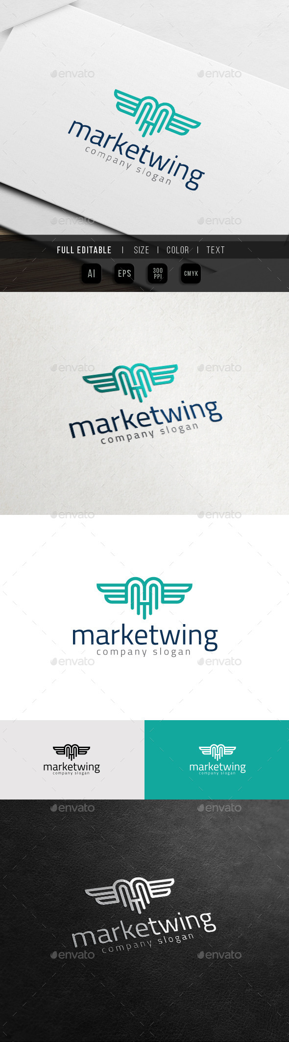 GraphicRiver Markup Wing Flying M Logo 11418196