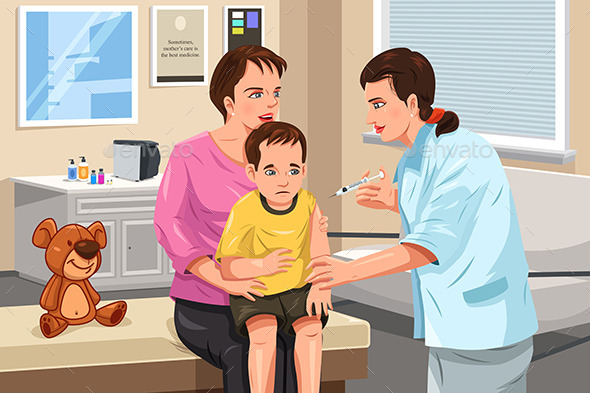 GraphicRiver Pediatrician Giving a Shot to a Little Child 11418456
