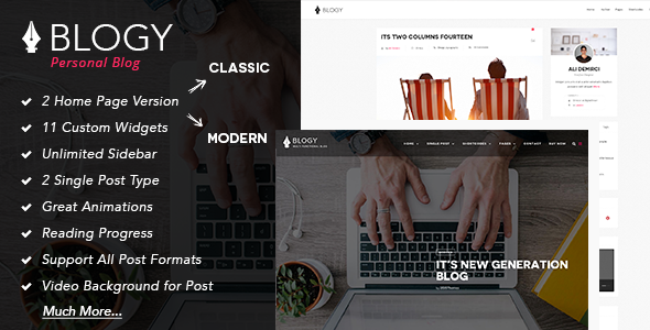 Blogy - Modern Personal Wordpress Blog Theme