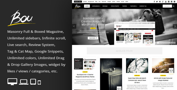 Bou = Masonry Review Magazine Blog WordPress Theme - News / Editorial Blog / Magazine
