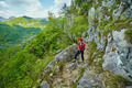 Hiker woman on a mountain trail - PhotoDune Item for Sale