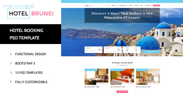 ThemeForest Hotel Brunei Hotel Booking PSD Template 11421837