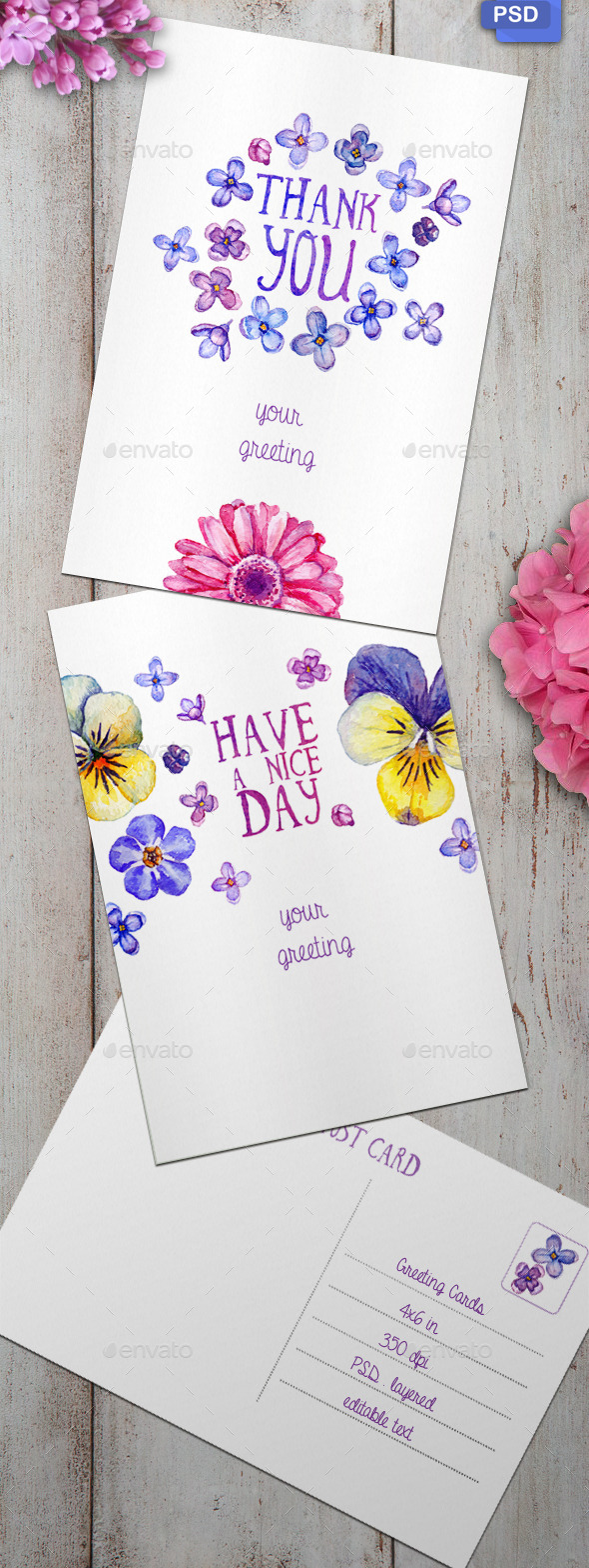 GraphicRiver 2 Watercolor Greeting Cards 11329473